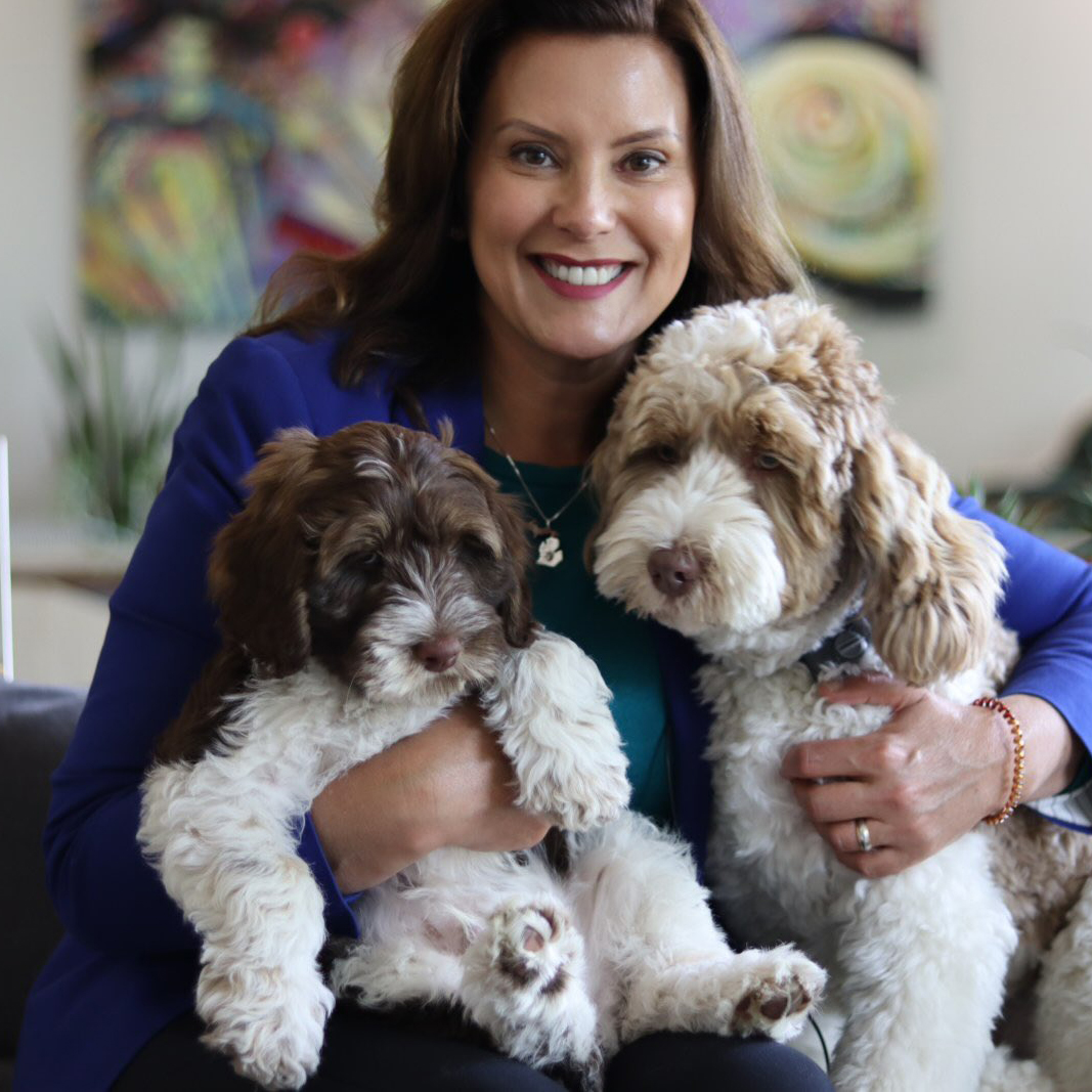 gretchen whitmer with her two dogs