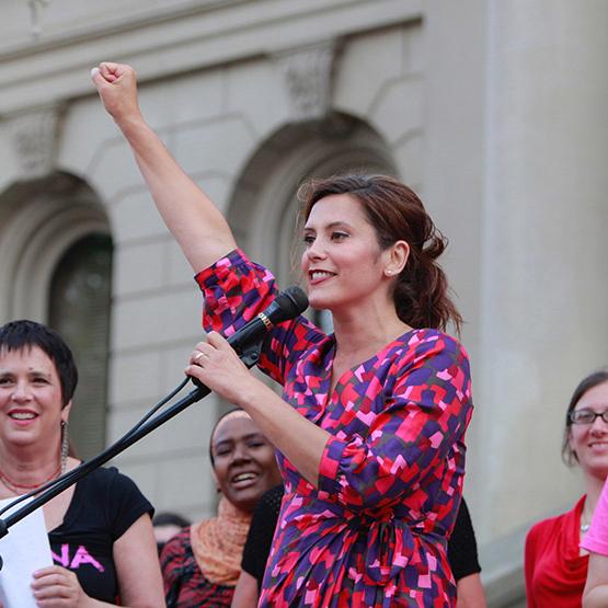 gretchen whitmer speaking at rally